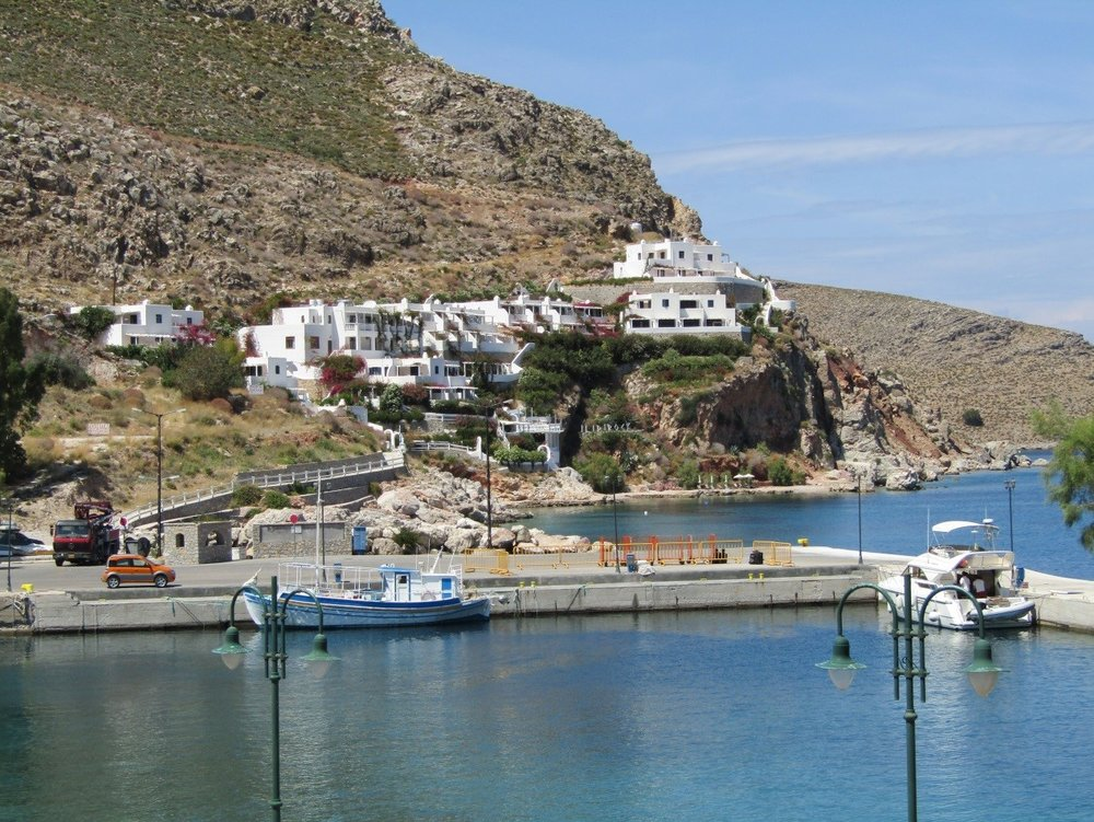 Ildi Rock Hotel and the Port of Livadia on Tilos