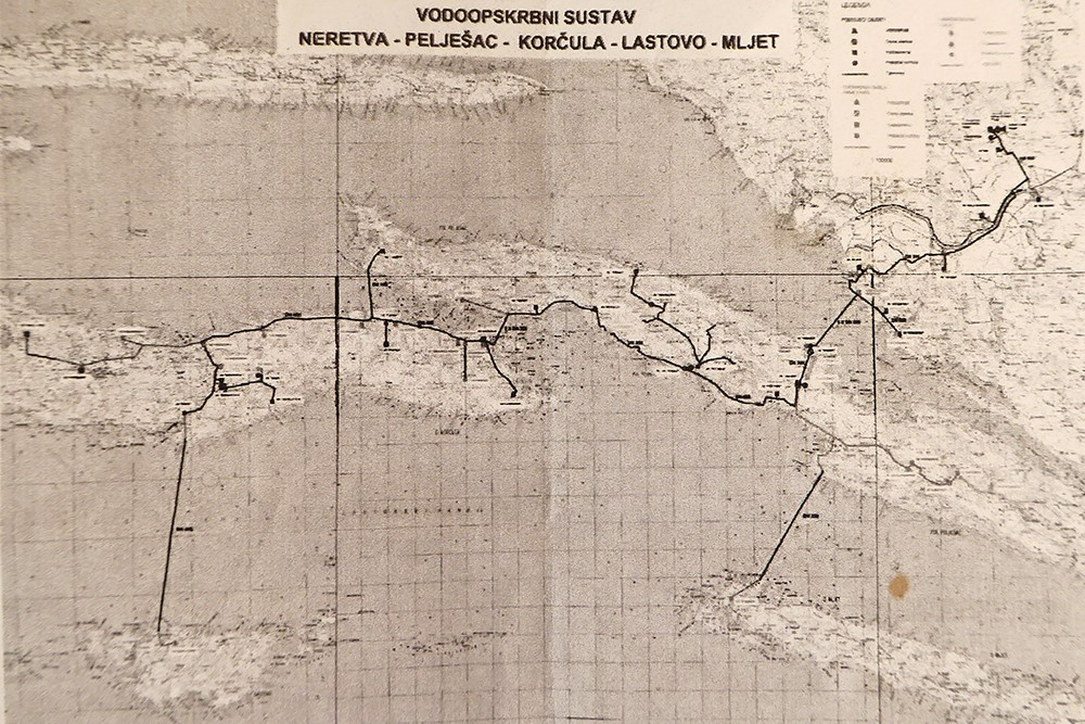Map of a water pipeline connecting Lastovo to mainland