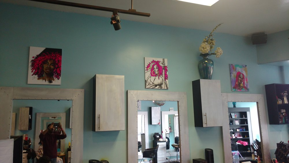 Artwork on display at studio 5526 Los Angeles