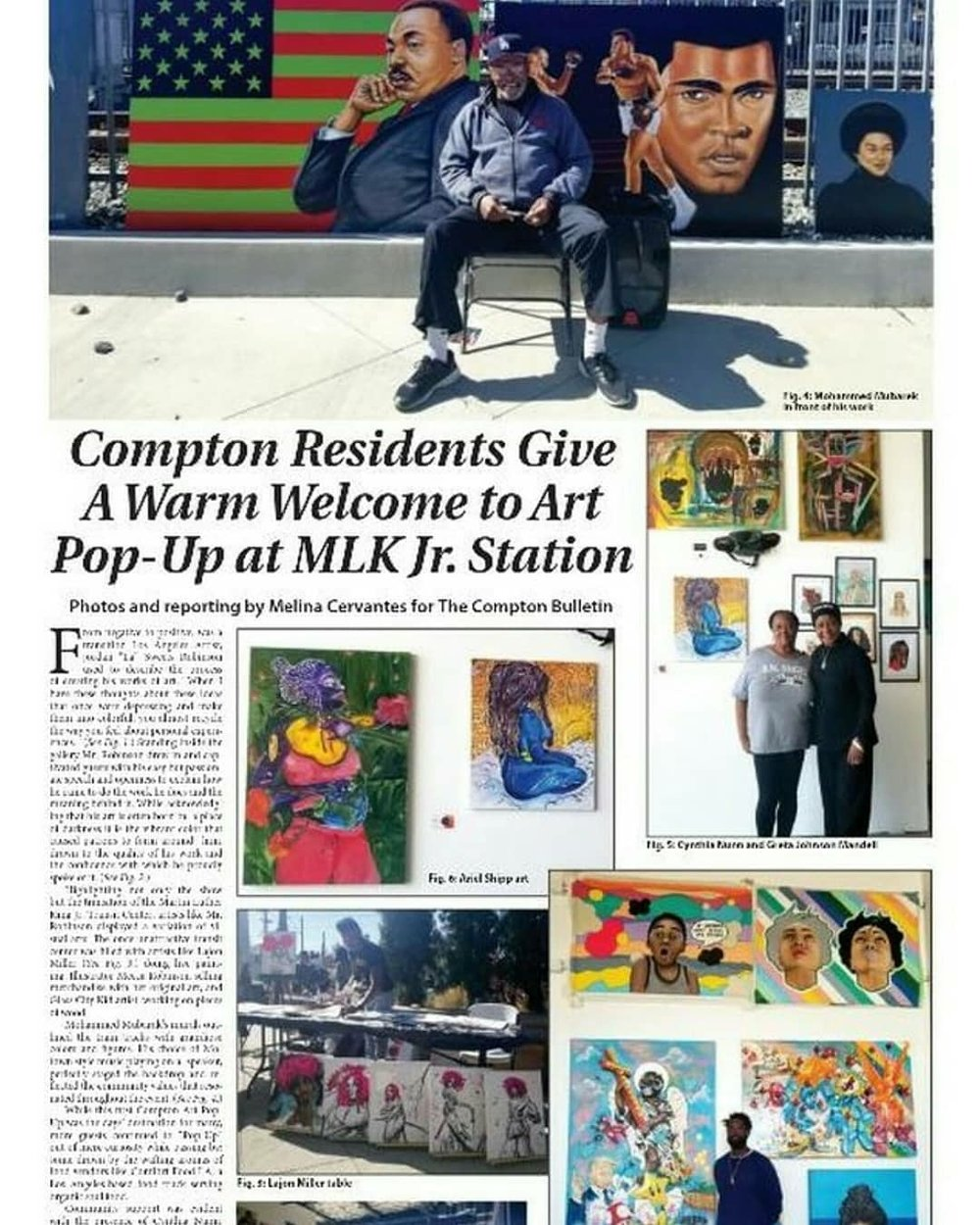 Article from The Compton BULLETIN from the Art pop up at MLK jr. station compton ca.