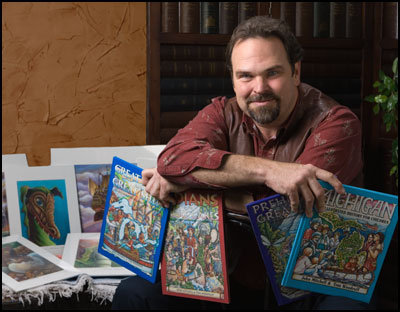 """Tom Woodruff - Tom has been teaching artists and illustrators since 1987. He is the illustrator of four children's history books which you may have seen in your library: Michigan, An Illustrated History For Children, Great Lakes and Great Ships, Indians of the Great Lakes, Prehistoric Great Lakes. These books are being used in Elementary and Middle Schools throughout the Great Lakes Area. For the past thirty years he has he has shared his love for Michigan and the Great Lakes region with students and teachers in schools, libraries and conferences, throughout the state. His Great Lakes Illustration Workshops, engage students of all ages, in challenging and fun drawing and writing projects. He says, """"My goal is to broaden their awareness of, and respect for their natural and societal surroundings."""" His Illustration workshops can be custom tailored to most any topic, or event."""