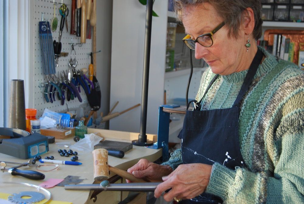 Janet working in her studio