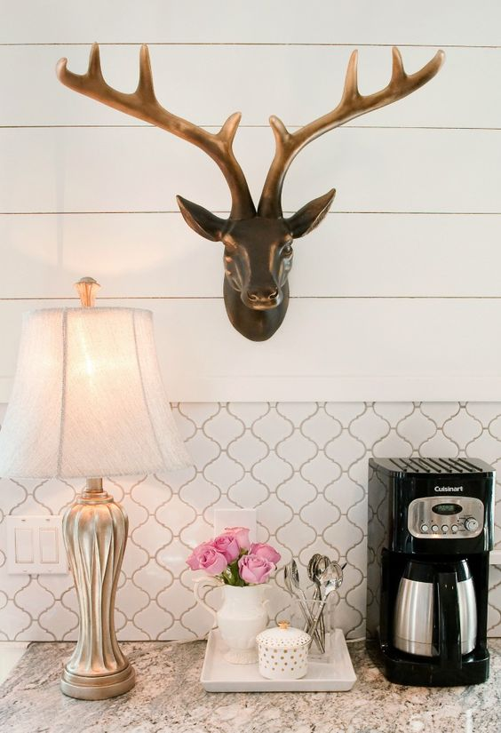 white-kitchen-antlers