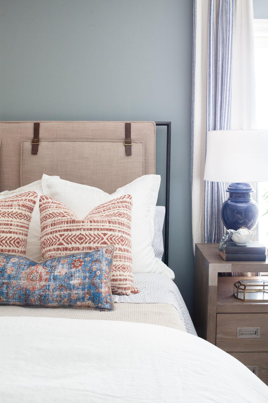 Blue/Multi Lumbar Pillow  ($69.00 - $89.00) ,  Leigh Upholstered Bed  ($1,747.08),  Keely Rust/Natural Pillow