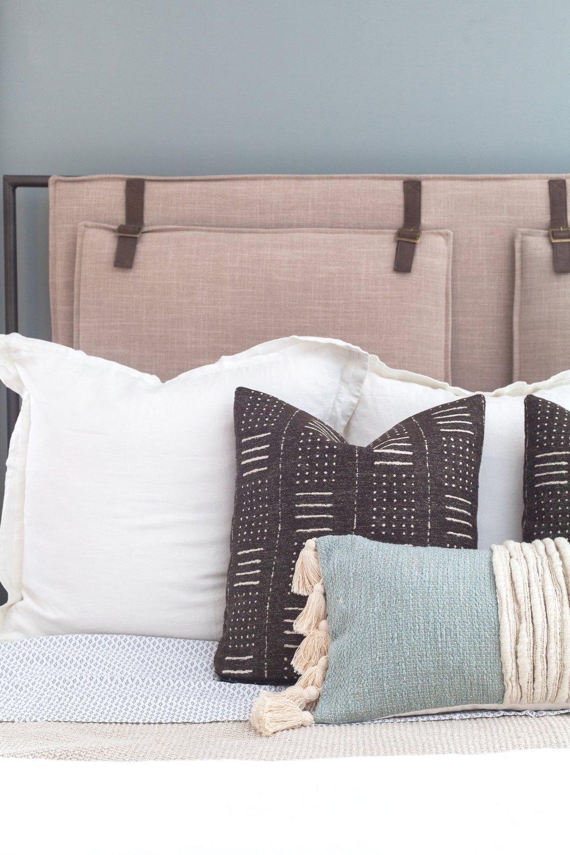 Natural/Light Blue Lumbar Pillow  ($59.00) ,  Leigh Upholstered Bed  ($1,747.08)