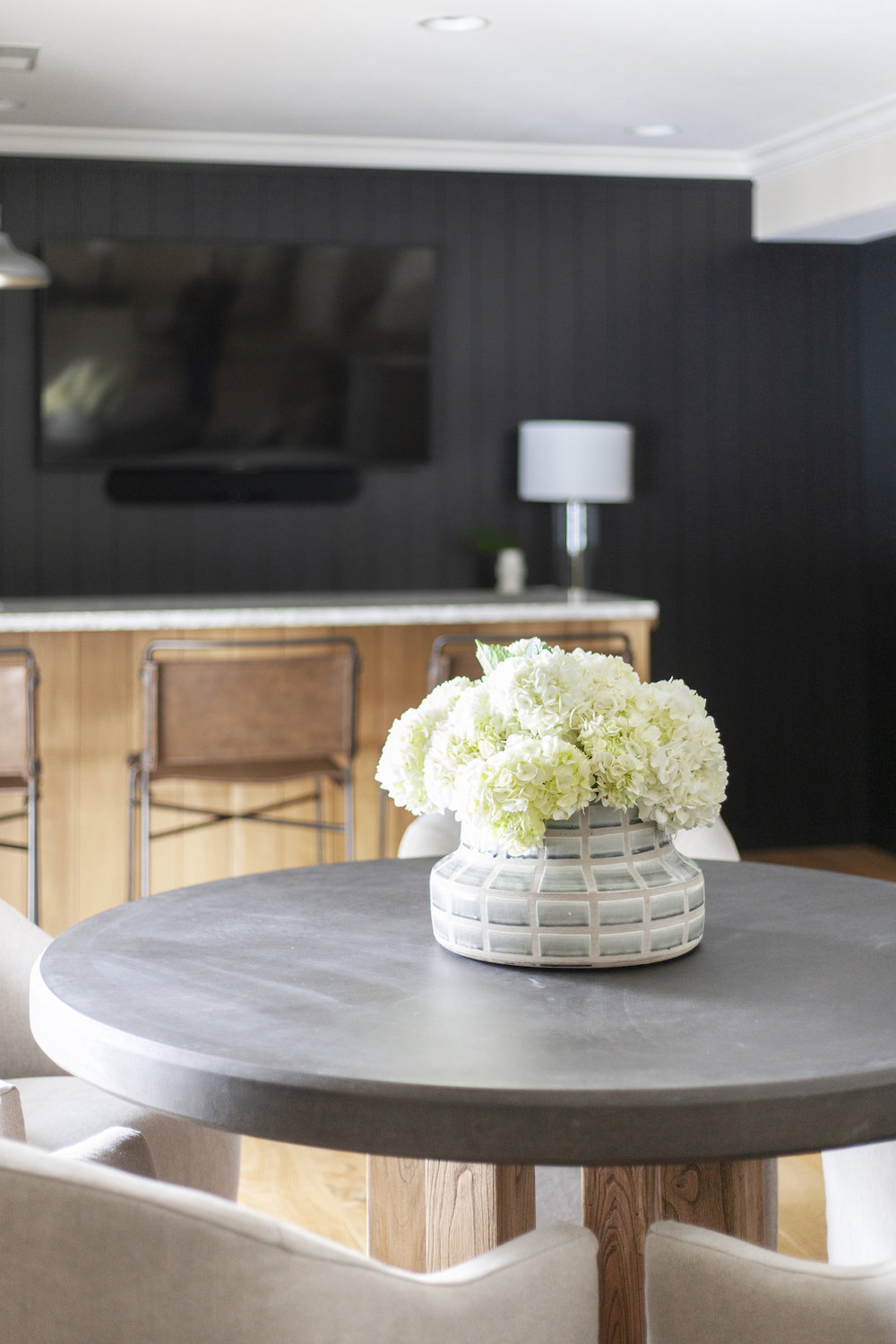 SHOP THE LOOK     |  Grid Vase ,  Wharton Bar + Counter Stools ,  Cove Dining Chair