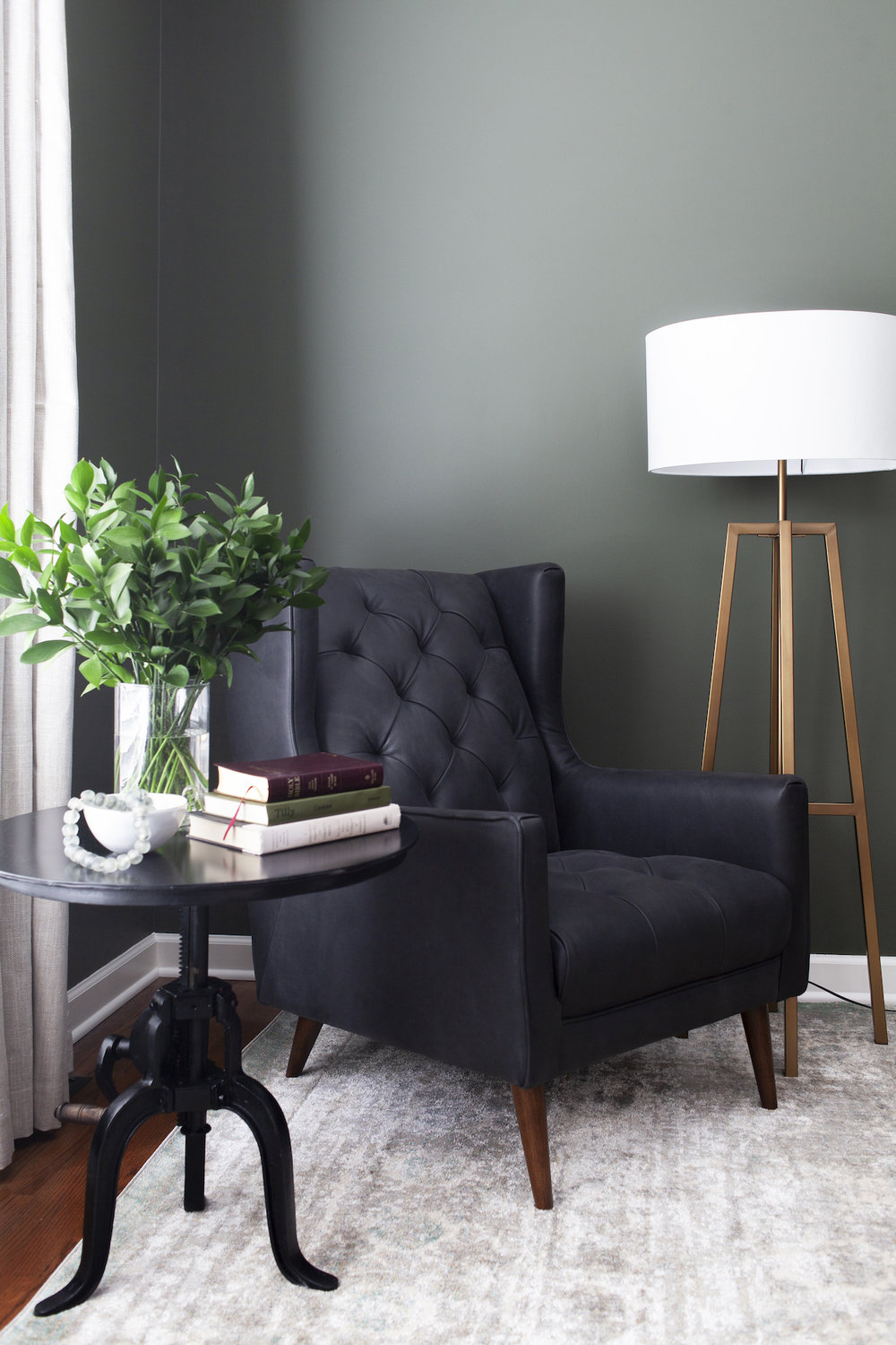 SHOP THE ROOM     |  Anastasia Grey Rug ,  Barry Chair ,  Rockwell Side Table ,  Lewis Floor Lamp