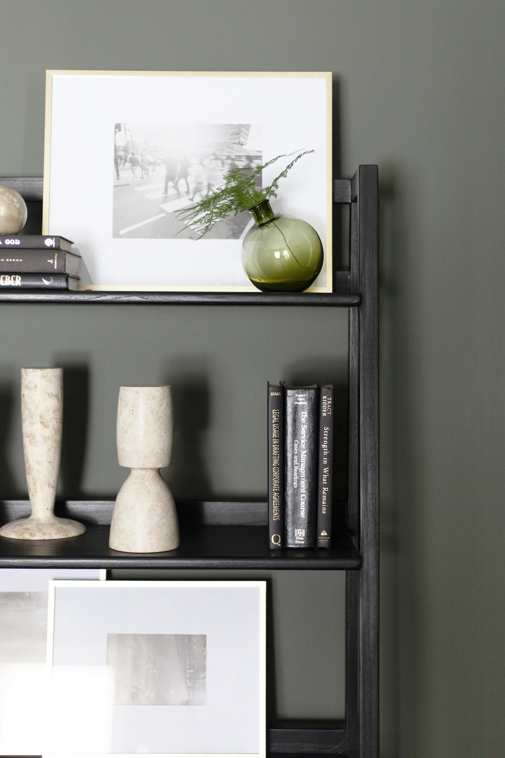 SHOP THE LOOK     |  Johnson Bookcase ,  Olive Sphere Vase ,  Marble Architect Objects