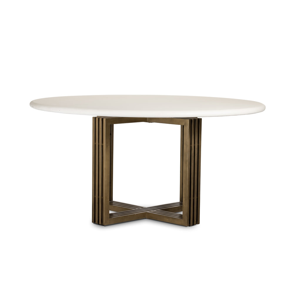 Mia Round Dining Table - Parchment White    |  Bring a noble sense to the table. Banded legs of brass-finished steel support a rounded tabletop, as a high-gloss sheen enhances the natural texture and tone of white concrete.