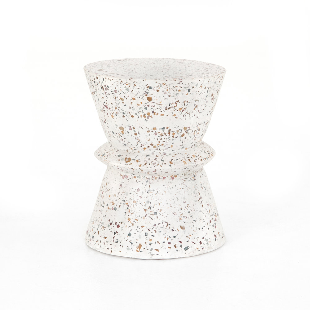 Lina End Table    | It's been said before, but we love terrazzo. Ok, obsessed might be a better word. The Lina end table features Smooth, terrazzo-flecked concrete is elegantly cinched into a modern hourglass shape.  It also comes in a dark grey.