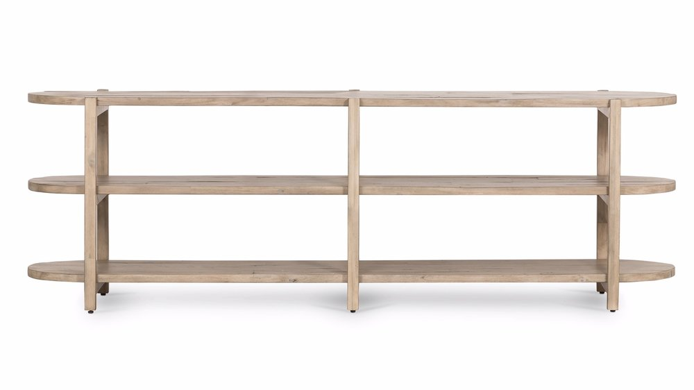 Babs Media Console    | A light wash and open styling speak to the desert influence of this modern-minded and organically beautiful media console. Rounded edging adds a sculpted, trend-forward feature that only extends its natural personality.