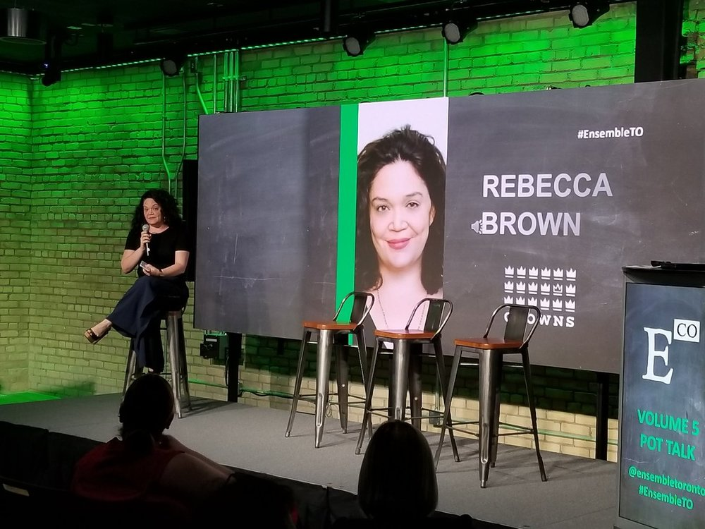 Crowns CEO Rebecca Brown moderates a panel at Ensemble in Toronto