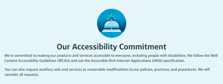 A screenshot of the Capital One Accessibility Statement Page.