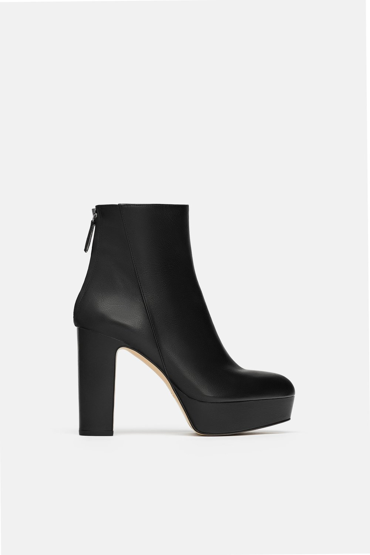 Zara Leather High Heel Platform Boot