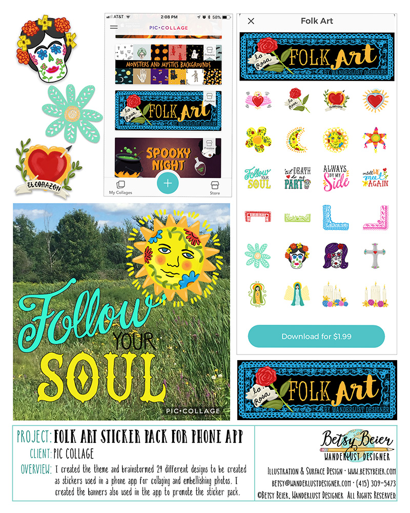 Folk Art Sticker Pack for Pic Collage