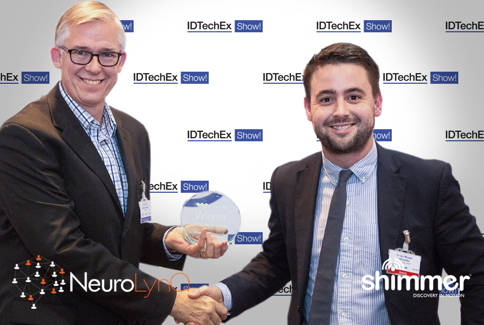 President of Shimmer Americas Mr. Geoff Gill accepting Shimmers best new wearable technology award for NeuroLynQ in Santa Clara, CA