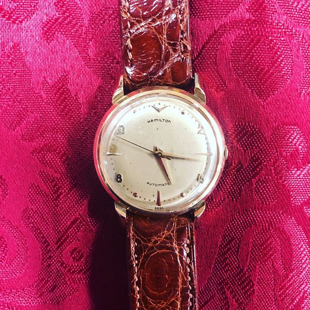 Mens Vintage Watch 1958 Hamilton Automatic 14K Gold Case Genuine Alligator Band Working and dated $685 This is a great collection piece for any collector  #watchesofinstagram #sanantonioresale #mensresale