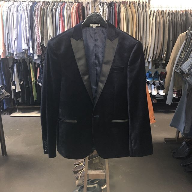 Men's Tux Jacket Express Photographer Fitted Size 36S Navy $75 Today Only!