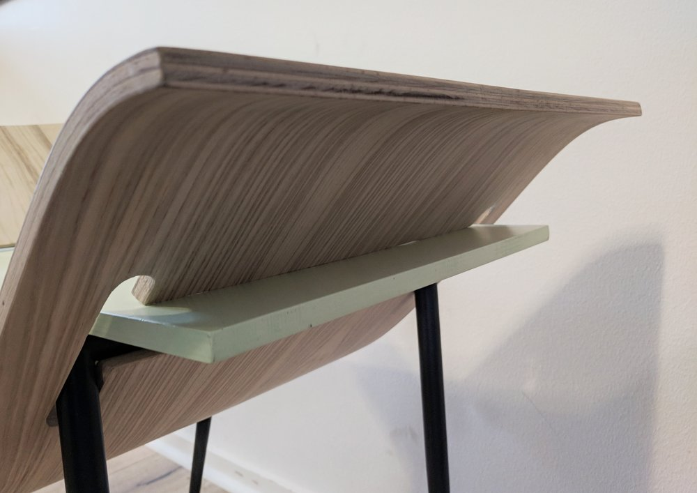STRUCTURE - The D-V Chair is self supporting, there are no bolted connections within the chair. The seat the slides through the veneer of the chair pressure fits the legs making them unable to move, completing the chair.