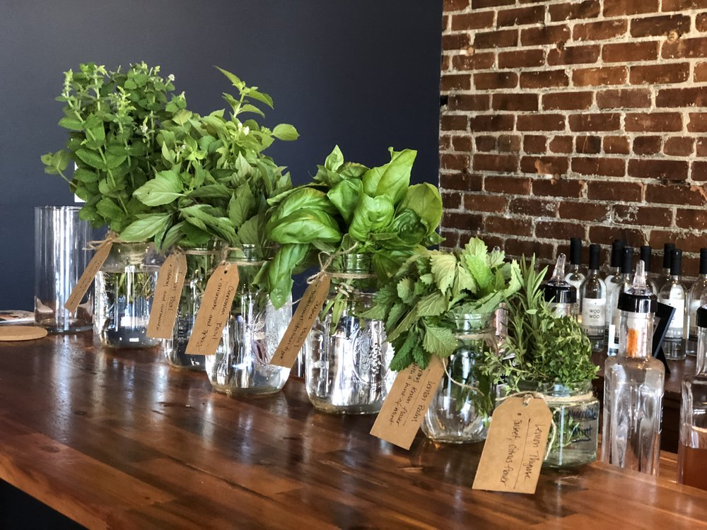Herbs waiting to enhance the cocktails at Cape Charles Distillery