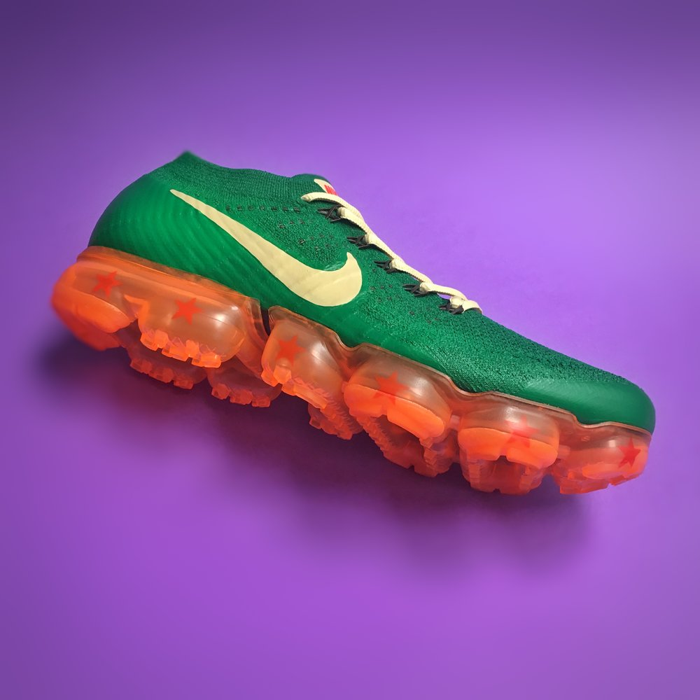 "Nike Air VaporMax. Dragonball ""Shenron"". Collaboration with @thegoldenshape"