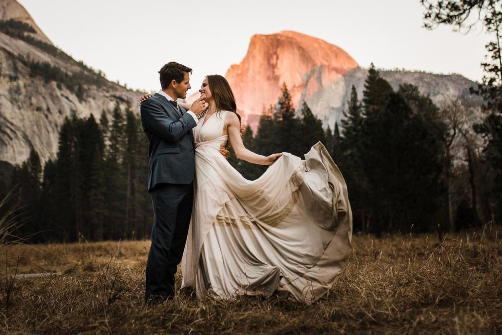 Yosemite-Elopement-at-sunset-with-half-dome