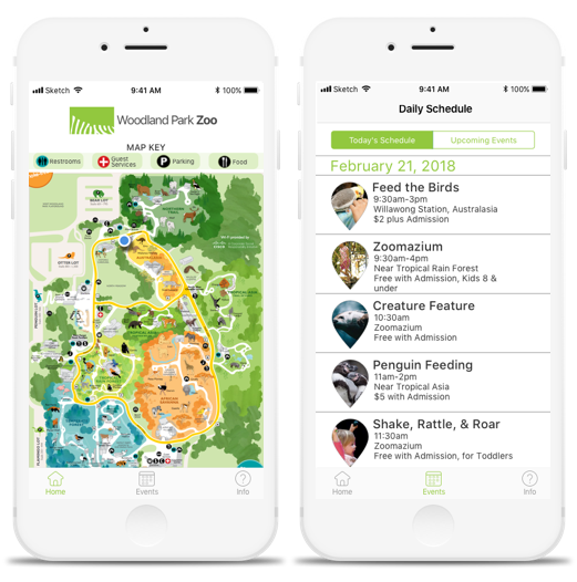 Concept iOS App Redesign - OverviewA concept redesign of the Woodland Park Zoo's current app to address usability issues. The redesign highlights the most essential user tools: the interactive map and the daily event schedule, allowing visitors to quickly find what they need and get back to animal viewing!DeliverablesContextual inquiry findings, interview discussion guide, wireframes, brand strategy, high fidelity mockups, clickable prototype