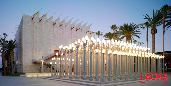 """Urban Light"" installation by artist Chris Burden is made up of 202 vintage street lamps"