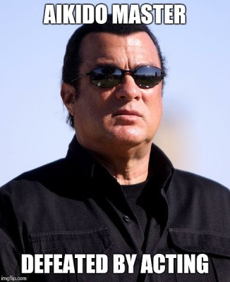 Action hero Steven Seagal - might make crappy movies, but he dedicated his life to the mastery of aikido, becoming the first foreigner to operate an aikido school in Japan....
