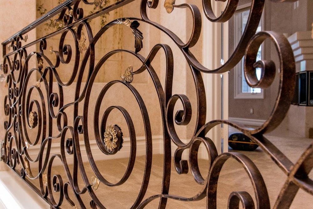 Custom, Hand Forged Ornate Designed Staircase Railing in Orange County, California