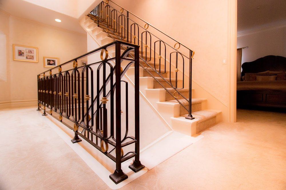 Custom, Hand Forged Ornate Designed Stair Railing in Newport Beach, California