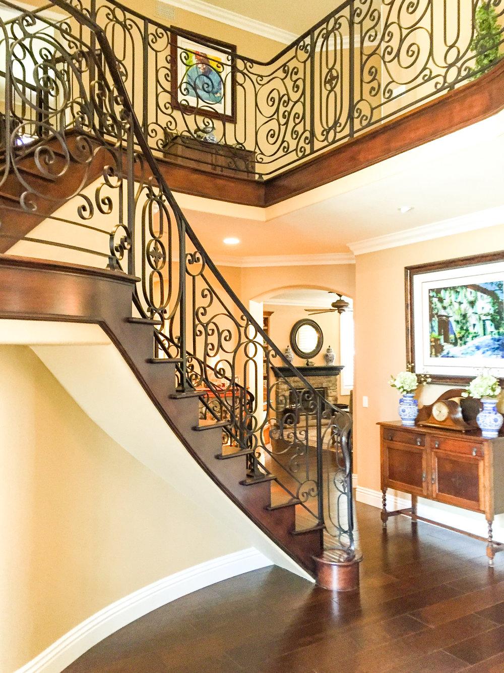 Custom, Hand Forged Ornate Designed Stair Railing in Irvine, California