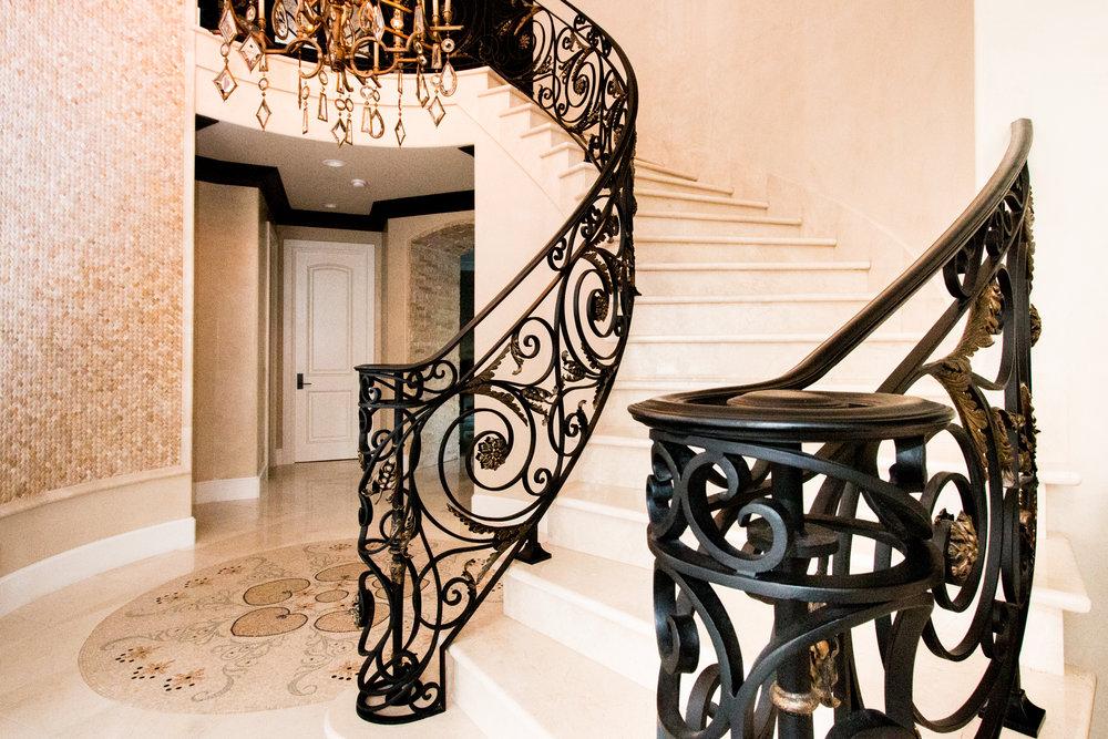 Custom, Hand Forged Ornate Designed Stair Railing in Laguna Beach, California