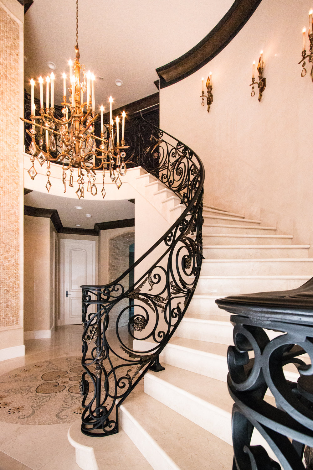 Custom, Hand Forged Ornate Designed Stair Railing in Shady Canyon, California