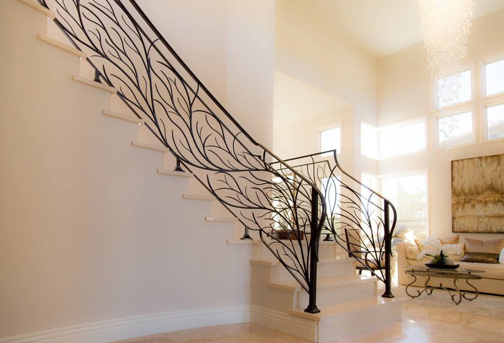 Modern Styled, Tuscany Inspired Modern Staircase Railing in Mission Viejo, California Naddour's Custom Metalworks