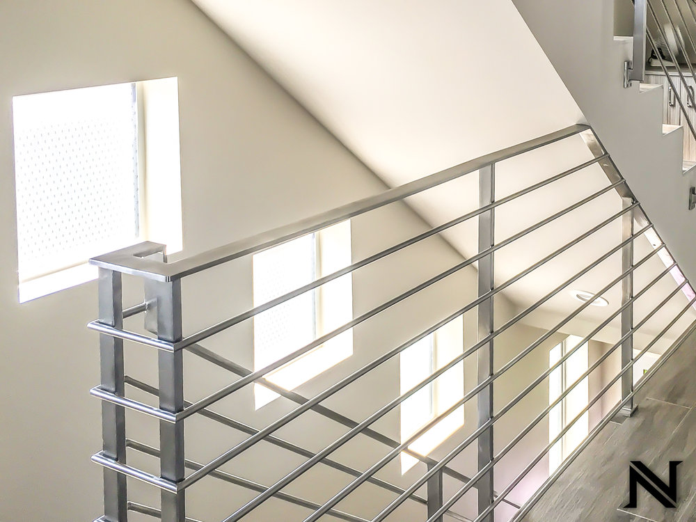 Extremely Contemporary and Sleek, Modern Stair Railing in Laguna Niguel, California