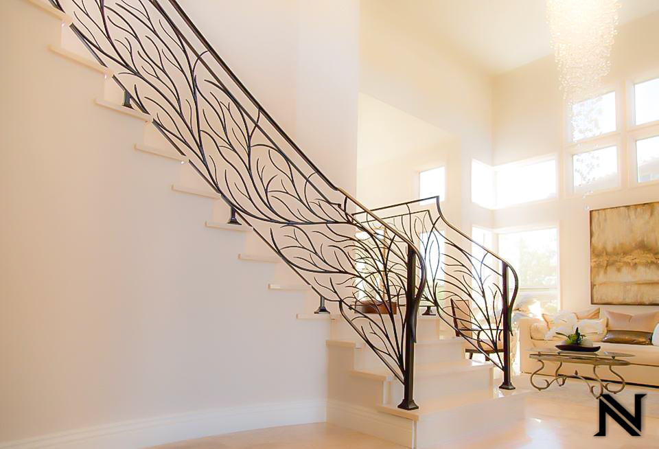 Custom Modern Stair Railing in Newport Coast, California