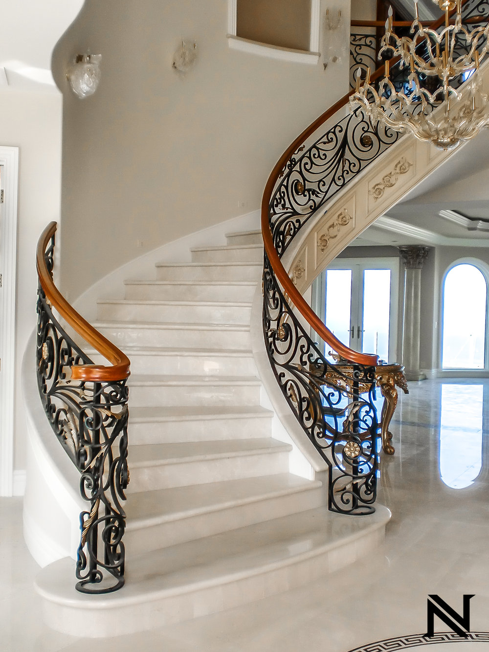 Custom, Hand Forged Ornate Designed Stair Railing in Orange County, California