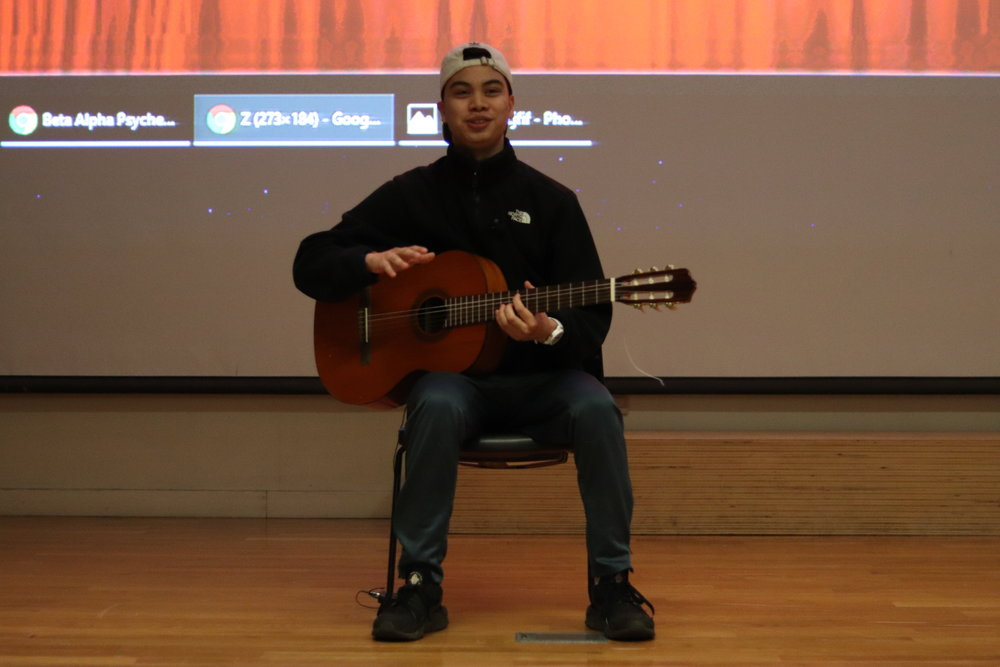 Christian Lantin showed off his pipes (or lack thereof) with a rendition of 'Love Yourself'