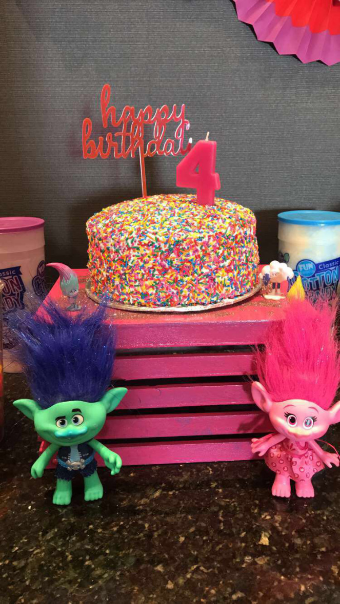 We Decorated The Cake Sweet Table With Troll Dolls My Niece Had Received For Christmas Colorful Candy Was Added To And Used Some Of