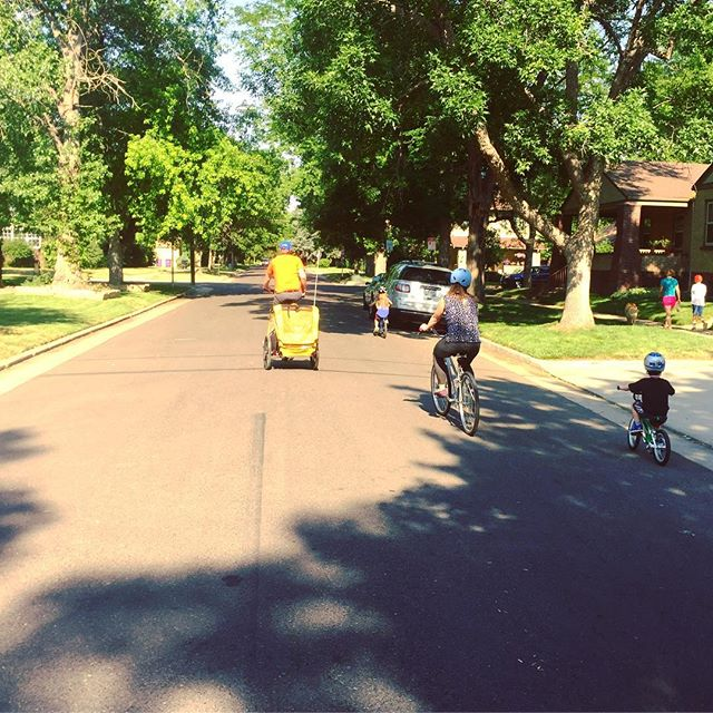 """Things you see on Bike Streets: family ride on Bike Streets """"Fortune"""" route in Park Hill."""