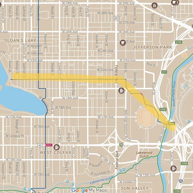 "New Bike Streets at map.bikestreets.com! ""Guidance"" connects Sloan's Lake    Jefferson Park    Mile High Stadium    South Platte River Trail. Stop @drinkrobotbeer on the way! #bikesomewhere"