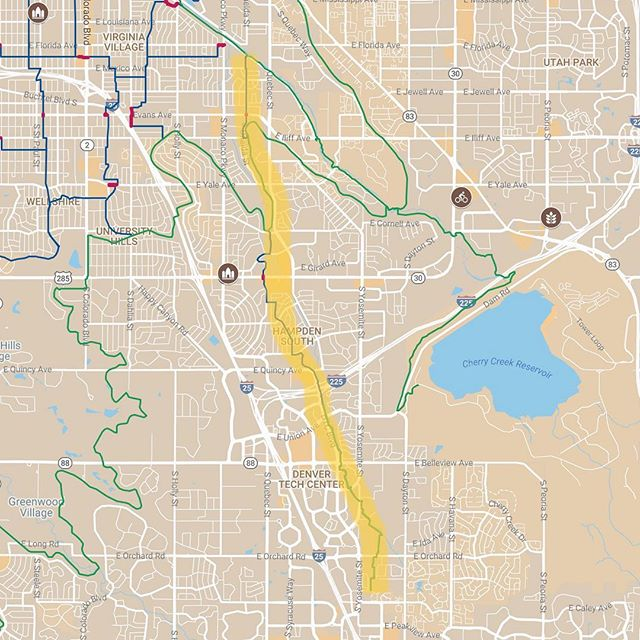 "New Bike Streets on the Map! ""Exchange"" goes to the Tech Center!!! Suggestion is to walk a block or two to your final destination. Just in time for @biketoworkday (next Weds.) Route connects Cherry Creek Trail    Goldsmith    Highline Canal Trail    Southeast    Hampden South    Denver Tech Center    Greenwood Village. #bikesomewhere"