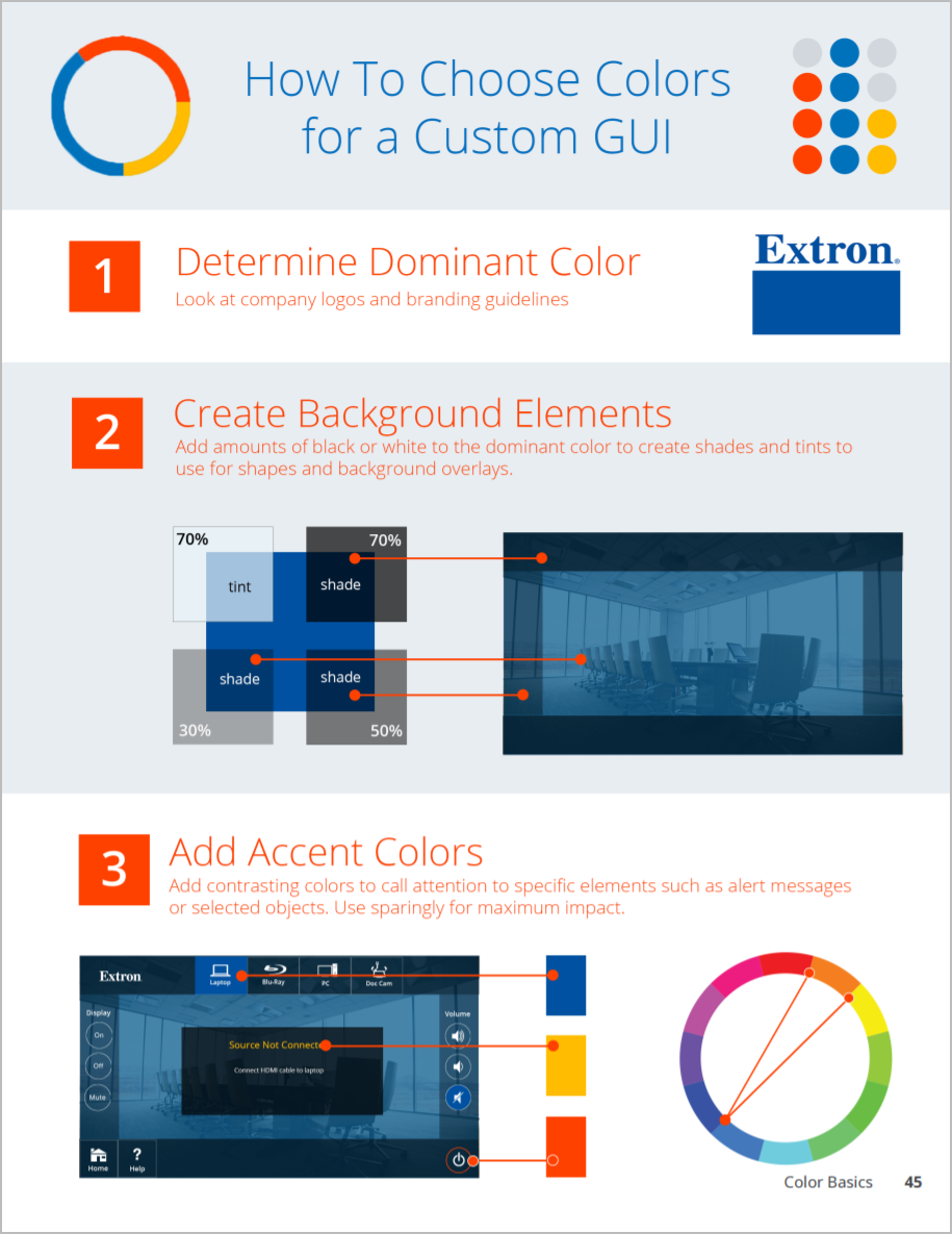 A sample page describing how to choose a custom color scheme.