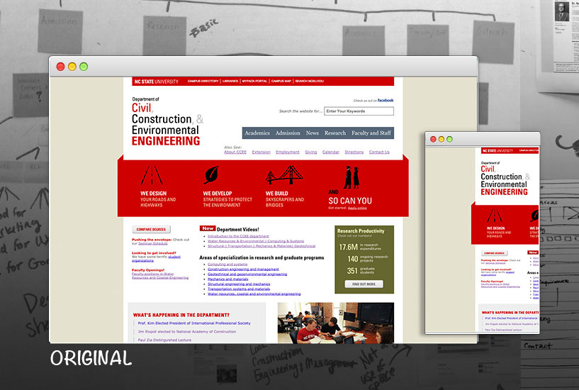 The Department of Civil, Construction & Environmental  website before redesign.