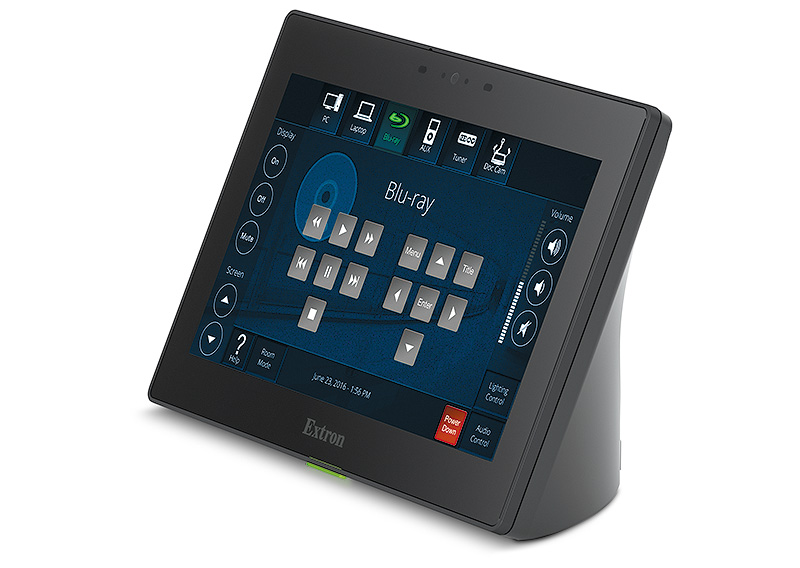 Extron's touch panel products either rest on a table, or an the wall and require user interaction to control various room settings.