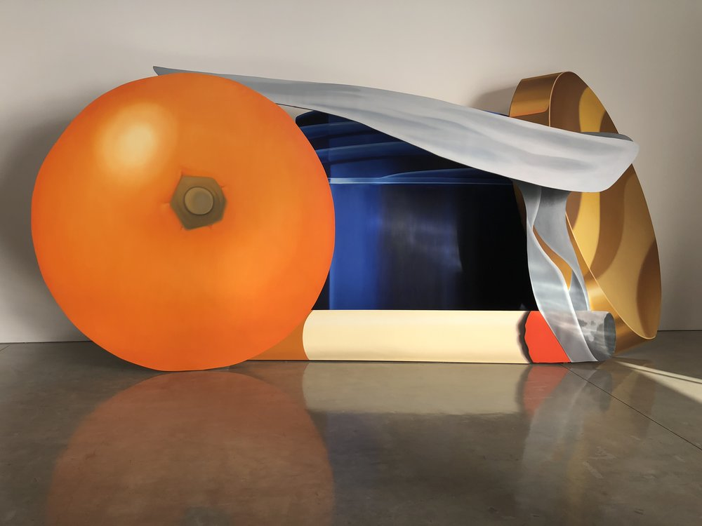 Tom Wesselmann,  Still Life with Blue Jar and Smoking Cigarette , 1981, oil on shaped canvas, in 4 parts, overall: 9 feet × 18 feet 5 inches × 5 feet 6 inches