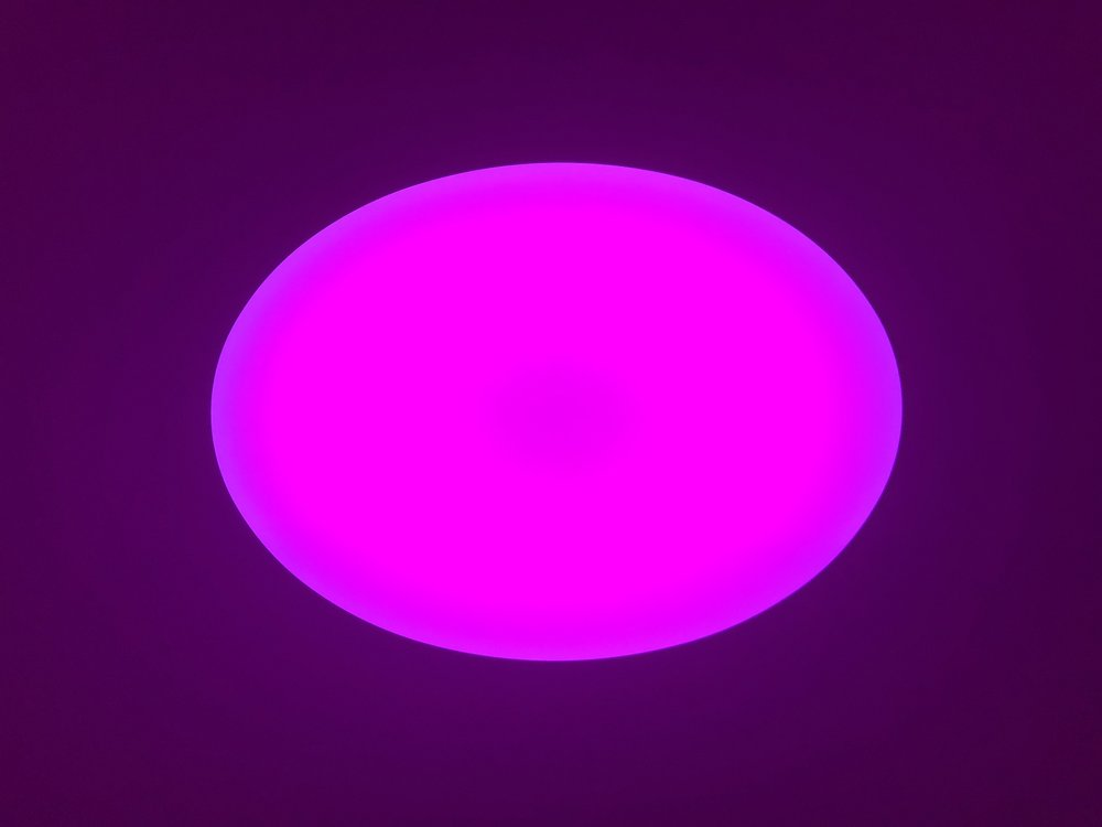 James Turrell,  Jhuya,  20(20), Curved Elliptical Wide Glass, 2018 L.E.D. light, etched glass and shallow space 54 x 61.32 inches