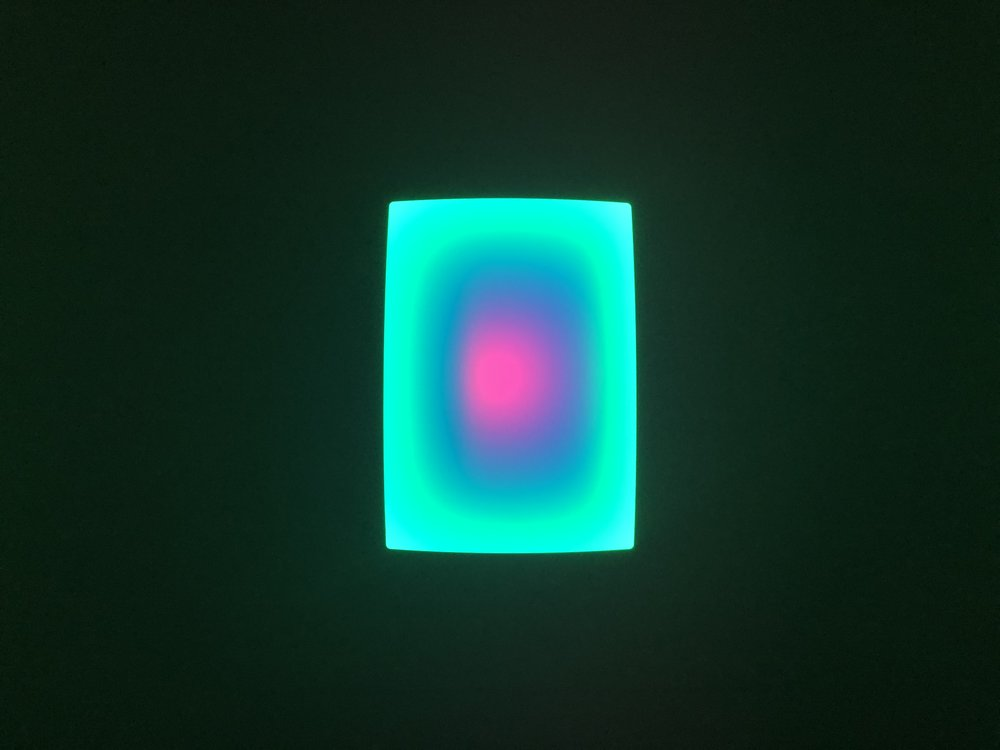 James Turrell,  Small Glass,  2018 L.E.D. light, etched glass and shallow space 27 1/2 x 19 5/8 inches