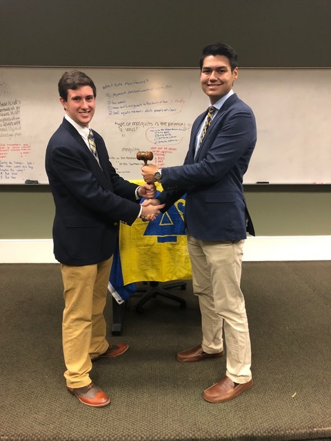 "Officer Transitions - 10/19/18""Leadership is not about the next election, it is about the next generation""-Simon SinekToday was an exciting day of change for this chapter. Our newly elected executive board sat at the front of the room for the first time to transition into their new leadership roles. As pictured, the gavel was passed from brother Clesson Allman (right) to brother Clay Maguire to begin his year of presidency for the chapter. All other VP positions are listed below.VP of Academic Excellence-Liam LeoneVP of Loss Prevention-Zach KingVP of Finance-Andrew BrancatoVP of Recruitment-DJ RiceVP of Administration-Thomas EichnerVP of External Affairs-Kyle HauptmanΔικαια Υποθηκη."